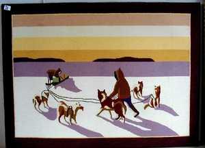 Grenfell hooked rug, ca. 1935, depicting 2 eskimos