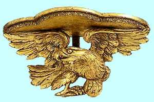 Carved American giltwood wall bracket, 19th c., wi