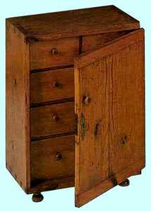 Southern pine spice box, ca. 1800, with a single d