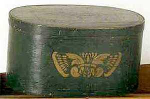 Pennsylvania painted oak and poplar large oval pan