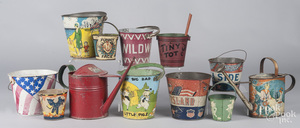 Collection of ten tin litho sand pails, etc.