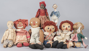 Group of stuffed dolls