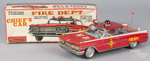 Cragstan tin litho friction fire chief's car