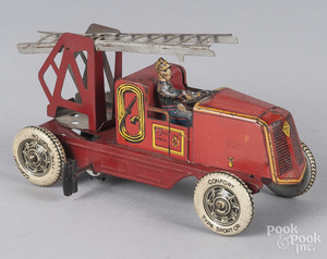 Charles Rossignol tin litho wind-up fire truck