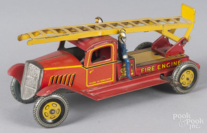 Wells, England tin litho wind-up fire ladder truck