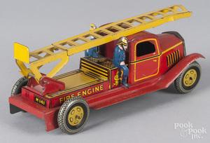 Wells, England tin litho wind-up fire ladder truck