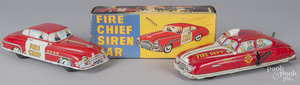 Two tin litho fire chief cars