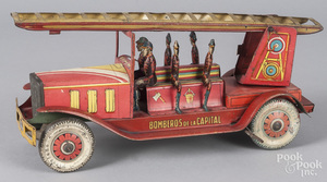 Argentina tin litho windup fire truck