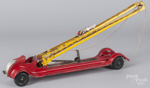 Keystone pressed steel wind-up fire ladder truck