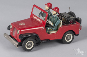 Japanese tin litho battery Fire Dept. Jeep