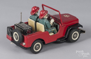 Japanese tin litho battery Fire Dept. Jeep