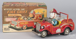Japanese battery operated tin litho fire chief car