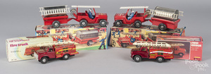 Two French Jeep Pompiers tin wind-up fire vehicle