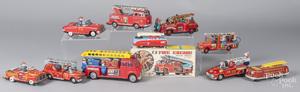 Nine tin litho fire related vehicles
