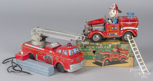 Japanese tin litho battery operated Fire car