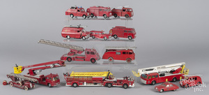 Ten Dinky fire related vehicles