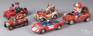 Five tin litho battery operated fire vehicles