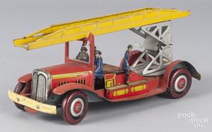 Wells tin litho wind-up fire ladder truck