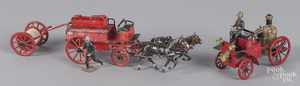 Three Mignot slush metal fire related vehicles