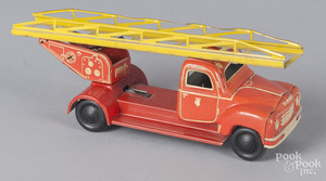 Tippco tin litho wind-up fire ladder truck