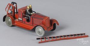 Jep tin litho clockwork fire ladder truck