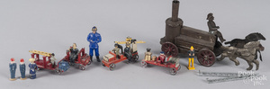 Group of German painted Putz fire related toys