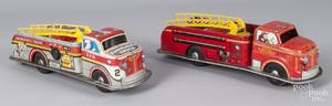 Two Marx tin litho fire ladder trucks