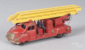 German tin lithograph clockwork fire ladder truck