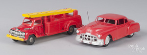 Two molded plastic fire related vehicles