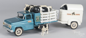 Tonka Farms pressed steel truck with trailer
