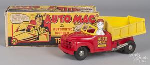 Marx molded plastic Auto Mac wind-up dump truck