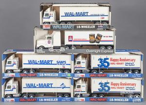Five Nylint Walmart semi-tractor trailer trucks