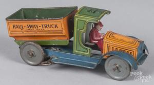 Strauss tin litho clockwork Haul Away dump truck