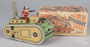 Marx tin litho windup Sparkling Doughboy Tank