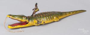 Tin litho windup Black Americana alligator toy