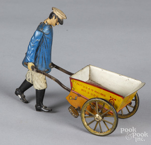 Lehmann tin litho windup Tap-Tap porter with cart