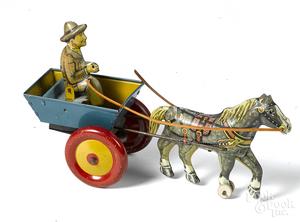 Marx tin litho windup horse drawn cart