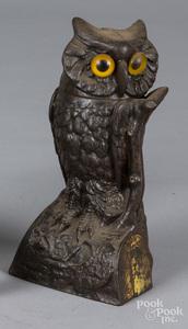 J. & E. Stevens cast iron owl mechanical bank