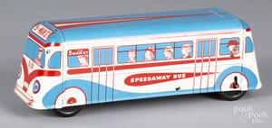 Wolverine tin litho Speedway Bus