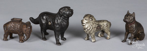 Four cast iron animal still banks
