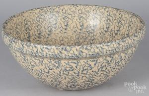 Large blue spongeware bowl