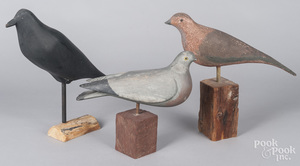 Three carved bird decoys