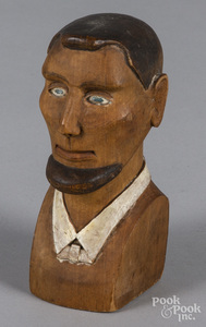 Carved and painted bust of Abraham Lincoln