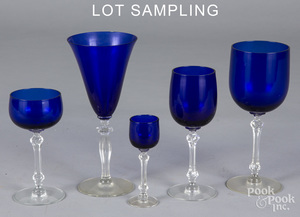 Collection of cobalt glass stemware