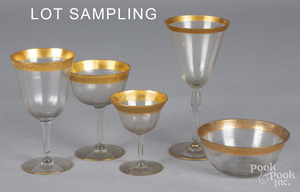 Collection of crystal gilt stemware