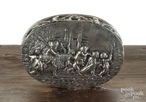 German sterling silver repousse trinket box