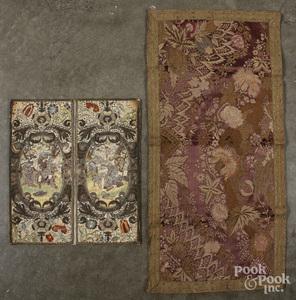 Silk and metallic thread needlework