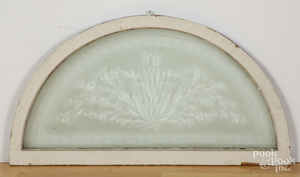 Etched glass demilune window