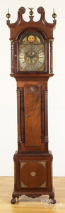 Chippendale style mahogany tall case clock
