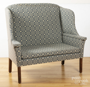 Pair of Chippendale style wing chairs, etc.